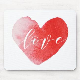 Love Heart watercolor print mouse mat Mouse Pad