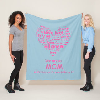 "Love Heart ""We Love You"" Personalized for HER Fleece Blanket"