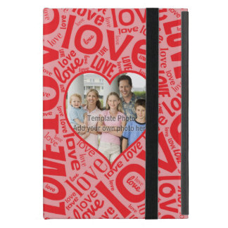 Love heart word art with photo template cases for iPad mini