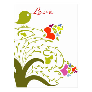 Love Hearts And Birdie On A Cute Tree Postcard