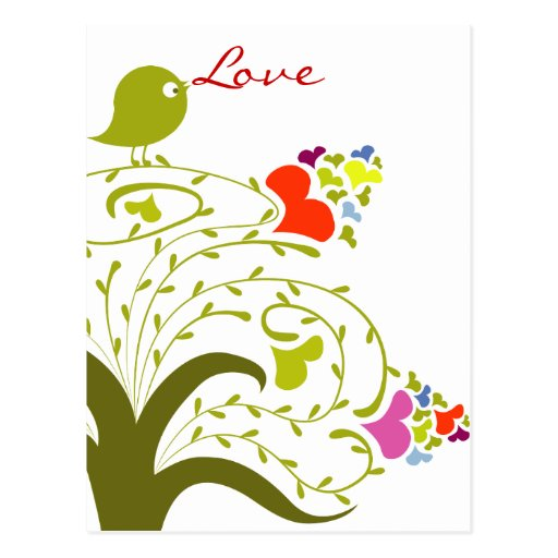 Love Hearts And Birdie On A Cute Tree Postcards