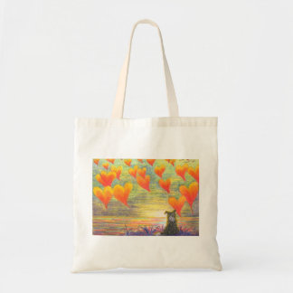 Love hearts and Border Collie tote bag
