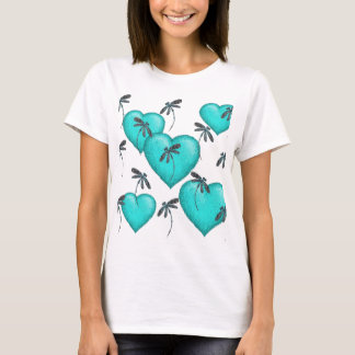Love Hearts and Dragonflies Turquoise T-Shirt