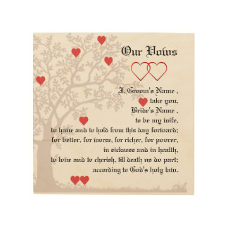 Love Hearts and Tree Wedding Vows Wood Print