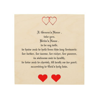 Love Hearts and Wedding Vows Wood Canvas