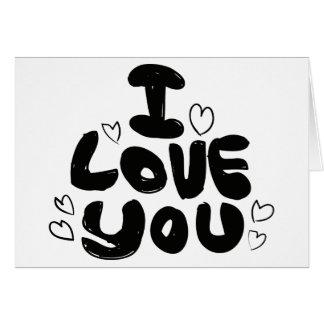 Love & Hearts Black & White - Wedding, Engagement Card