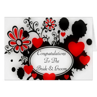 Love Hearts Flower Splats Red Black White Wedding Card