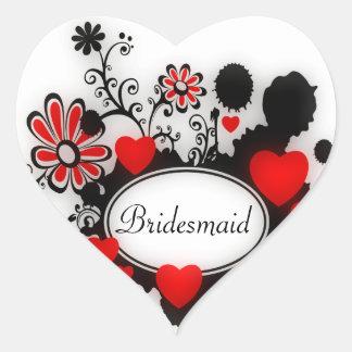 Love Hearts Flower Splats Red Black White Wedding Heart Sticker
