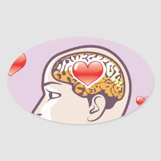 Love Hearts in the Mind vector Oval Sticker
