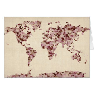 Love Hearts Map of the World Map Greeting Cards