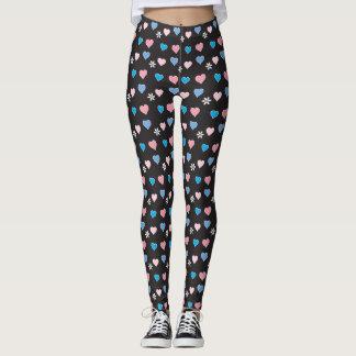 Love hearts on black design, original leggings