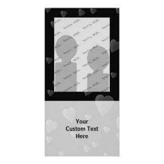 Love Hearts Pattern in Black and Gray. Photo Card