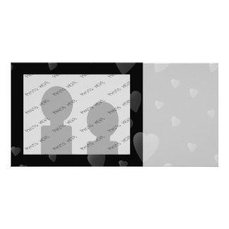 Love Hearts Pattern in Black and Gray Customized Photo Card