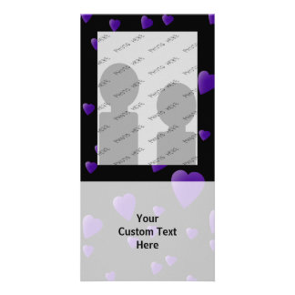 Love Hearts Pattern in Black and Purple. Customized Photo Card