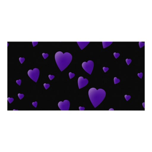 Love Hearts Pattern in Black and Purple. Picture Card