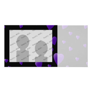 Love Hearts Pattern in Black and Purple. Photo Card Template