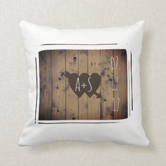 Love Hearts Rustic Barn Wood Wedding Personalized Throw Pillow
