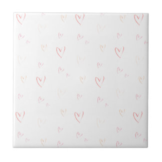 Love Hearts Watercolour Ditsy Pink Design Tile