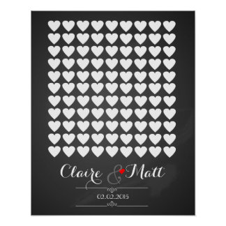 love hearts wedding signing guest book poster