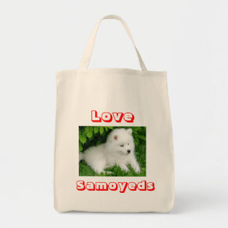 Love hite Samoyed Puppy Dog  Tote Bag