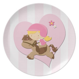 Love Horseriding Pink Stripes Party Plate