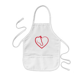 Love horses, red heart with horse head kids apron