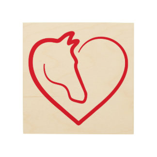 Love horses, red heart with horse head wood canvases