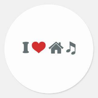 Love House Music Round Stickers