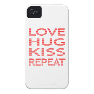 LOVE HUG KISS REPEAT - strips - red and white. iPhone 4 Cases