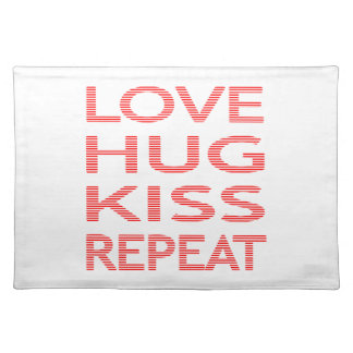 LOVE HUG KISS REPEAT - strips - red and white. Placemat