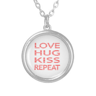 LOVE HUG KISS REPEAT - strips - red and white. Silver Plated Necklace