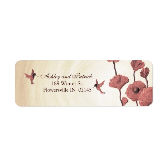 Love Hummingbirds and Painted Red Flowers Return Address Label