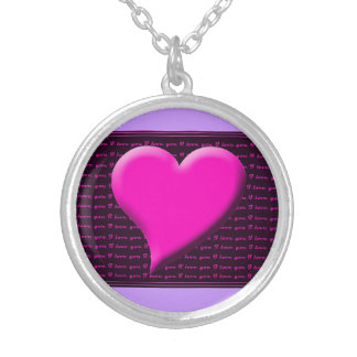 Love I Heart You Valentine Pink Save the Date Round Pendant Necklace