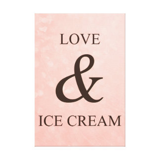 Love & ice cream stretched canvas print