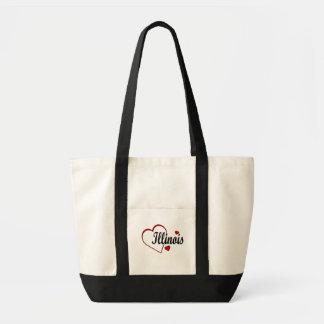 Love Illinois Hearts Canvas Tote Bag