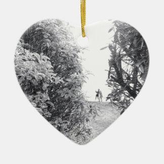 Love in a photo ceramic heart ornament