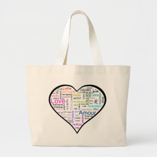 Love in all languages Heart Jumbo Tote Bag