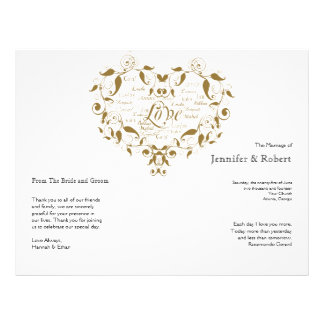 Love in Any Language in Gold Wedding Program