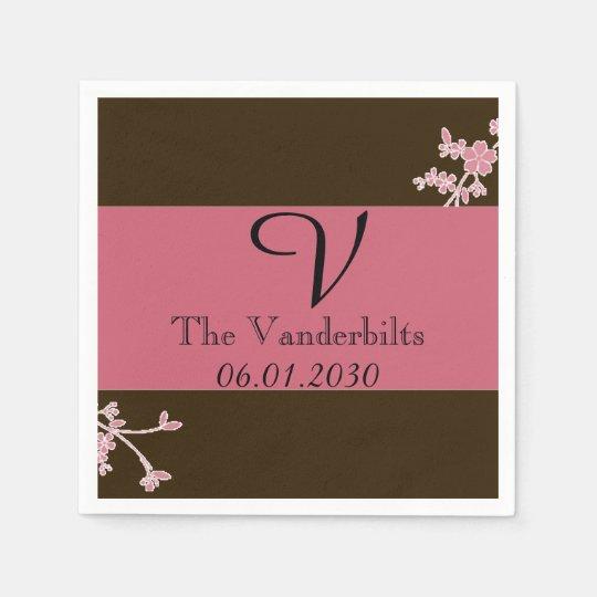 Love in Bloom Cherry Blossom Monogram Wedding Disposable Napkin