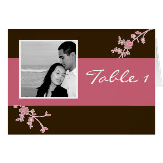 Love in Bloom Chocolate Brown with Cherry Blossom Greeting Card