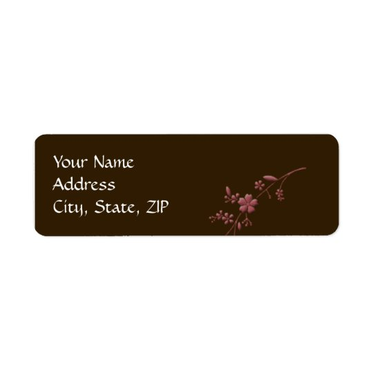 Love in Bloom: Chocolate Brown with Cherry Blossom Return Address Label