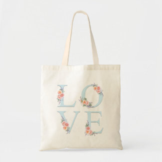 Love in Bloom Floral Alphabet Typography Tote Bag