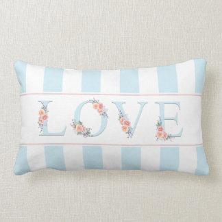 Love in Bloom Pastel Stripes Lumbar Pillow