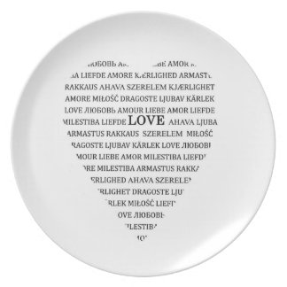 Love in different languages dinner plate