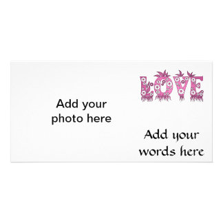Love ( in flowers font ) photo greeting card