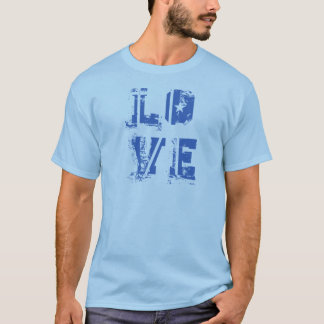 Love in Grungy Urban Blue T-Shirt
