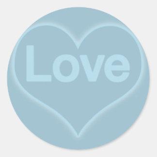 Love in Heart on Blue Round Sticker