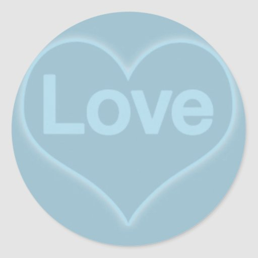Love in Heart on Blue Round Stickers