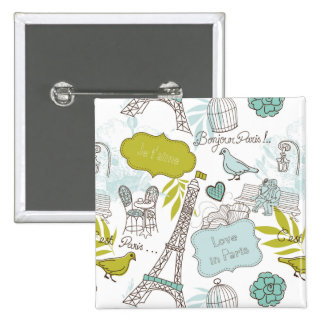 Love in Paris Pattern 2 Inch Square Button