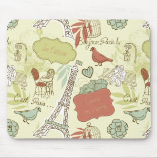 Love in Paris Pattern Mouse Pad